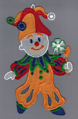 Embroidered Lace Friendly Jolly Clown Window Picture